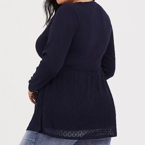 Navy Pointelle Knit Baby Doll Sweater NWT Sz 2x